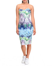 Fashion Lab - Waterfall Print Strapless Dress
