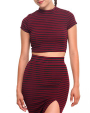 Tees - Striped Crop Top