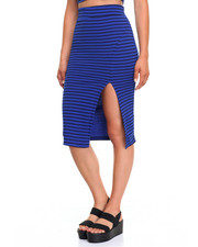 Bottoms - Striped Slit Skirt