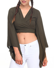 Fashion Lab - Kimono Sleeve Tie Back Top