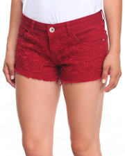 Basic Essentials - Floral Embroidery Stretch Twill Frayed Hem Shorts