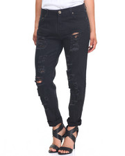 Bottoms - Rips & Tears Rolled Cuff Boyfriend Jean