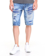 Buyers Picks - Faux Leather Backed Rip - And - Repair Denim Shorts