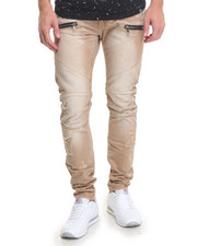 Men - Taupe Enzyme Treated Moto Jean