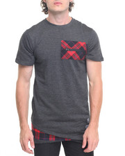 Men - Speckled Buffalo Plaid Elongated Tee