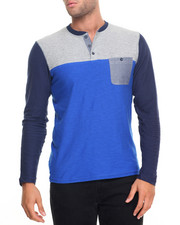 Men - Colorblock Henley w Chambray PCKT