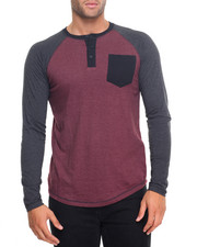 Men - Colorblock Button Henely