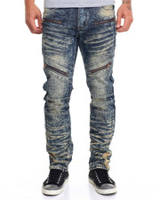 Men - Dirty Wash Biker Jean w/ Zipper Detail