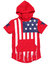 Arcade Styles - ELONGATED HOODED AMERICANA FLAG DRIP TEE (4-7)
