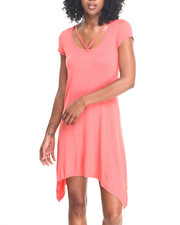 Fashion Lab - Deep Coral Sharkbite Front Strap Neckline Dress