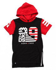 Hoodies - ELONGATED S/S FLAG HOODY (4-7)