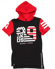 Hoodies - ELONGATED S/S FLAG HOODY (8-20)