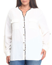 Plus Size - Long Sleeve Chiffon Top (Plus)