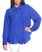 Women - Long Sleeve Lace Chiffon Button Down (Plus)