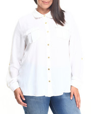 Fashion Lab - Long Sleeve Lace Chiffon Button Down (Plus)