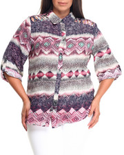 Plus Size - Color Slash Printed Button Down (Plus)