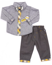 Boys - 2 PC SET - CHAMBRAY WOVEN & PANTS (NEWBORN)