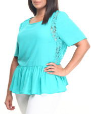 Fashion Lab - Short Sleeve Lace Flowy Top (Plus)