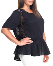 Women - Short Sleeve Lace Flowy Top (Plus)