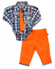 Boys - 2 PC SET - PLAID WOVEN & PANTS (NEWBORN)