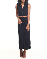 Fashion Lab - Knit Maxi Shirt Dress w/ Roll Tab Sleeve and Braided Belt