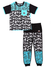 Boys - 2 PC SET - GRAFFITI TEE & JOGGERS (8-20)