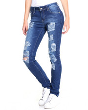 Women - Distressed Rips Stretch Skinny Jean