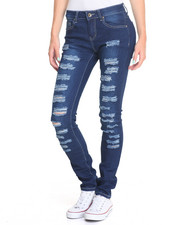 Bottoms - Mini Rips Distressed Stretch Skinny Jeans