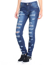 Jeans - Distressed Leg Rips Sandblasted Stretch Skinny Jean