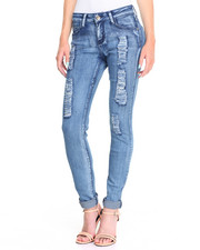 Jeans - Sandblasted  Blue Wash Torn Rips Stretch Skinny Jean