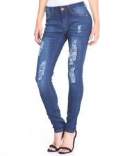 Women - Rips Sandblasted Stretch Skinny Jean