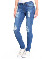 Jeans - Mixed Rips Sandblasted Stretch Skinny Jean