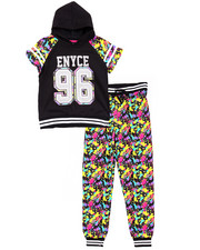 Sizes 7-16 - Big Kids - 2 PC SET - HOODED TEE & SPLATTER JOGGERS (7-16)