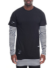 Shirts - L/S Stripe Layer Ripped Tee