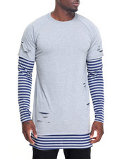 Men - L/S Stripe Layer Ripped Tee