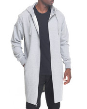 Men - Elongated  Zip Fleece Hoody