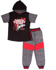Boys - 2 PC SET - ELEPHANT HOODED TEE & JOGGERS (4-7)