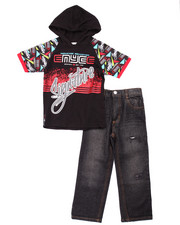 Enyce - 2 PC SET - HOODED SIGNATURE TEE & MOTO JEANS (4-7)