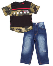 Enyce - 2 PC SET - SCALLOPED HEM CAMO TEE & JEANS (2T-4T)