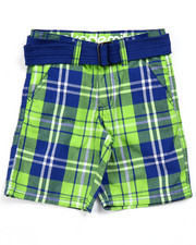 Bottoms - BELTED PLAID CARGO SHORTS (4-7)