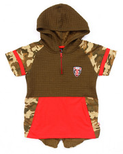 Boys - SPLIT HEM HOODED CAMO TEE (4-7)