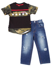 Boys - 2 PC SET - SCALLOPED HEM CAMO TEE & JEANS (4-7)