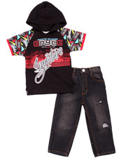 Enyce - 2 PC SET - HOODED SIGNATURE TEE & MOTO JEANS (2T-4T)