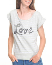 Tees - Love Sequins Stripe Boat Neck Tee