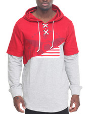 Hudson NYC - U S A Rip Laced Pullover Hoodie