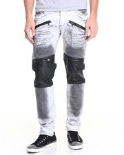 Jeans - Smoke and White Moto Jean