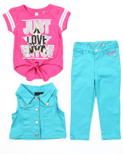 Sets - 3 PC SET - VEST, TIE FRONT TEE, & JEANS (2T-4T)