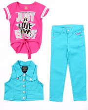 Sizes 4-6x - Kids - 3 PC SET - VEST, TIE FRONT TEE, & JEANS (4-6X)