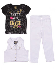 Sizes 4-6x - Kids - 3 PC SET - VEST, FRINGE TEE, & JEANS (4-6X)