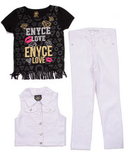Sizes 7-16 - Big Kids - 3 PC SET - VEST, FRINGE TEE, & JEANS (7-16)